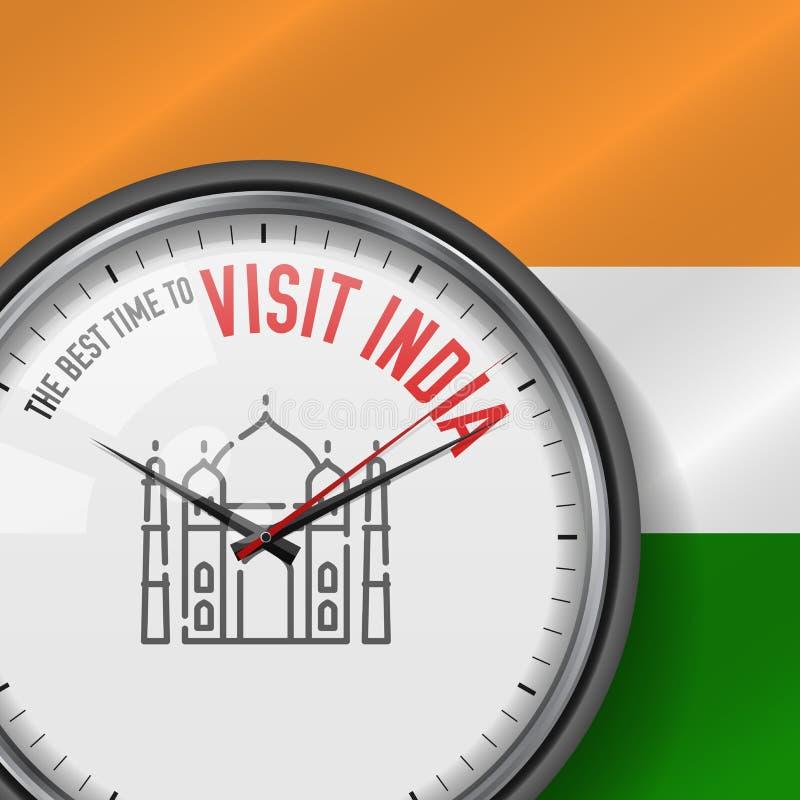 Самое лучшее время для посещения Индии Белые часы вектора с лозунгом Индийская предпосылка флага сетноой-аналогов вахта Значок Та иллюстрация вектора