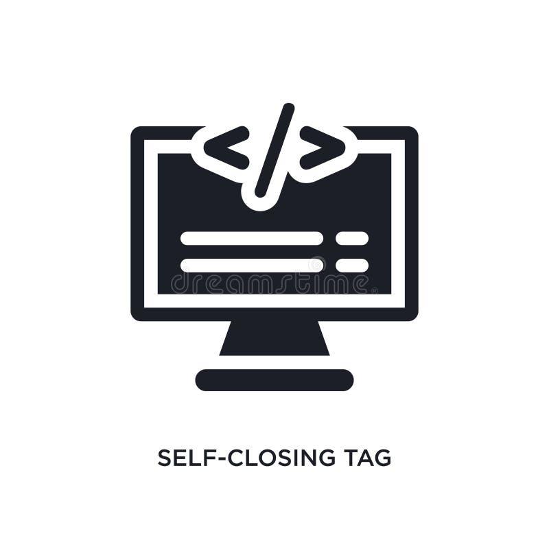 само-заключительной значок изолированный биркой простая иллюстрация элемента от значков концепции технологии знак логотипа само-з иллюстрация штока
