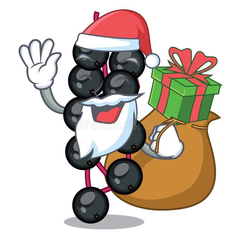 Санта с плодом elderberry подарка изолировано с характерами иллюстрация вектора
