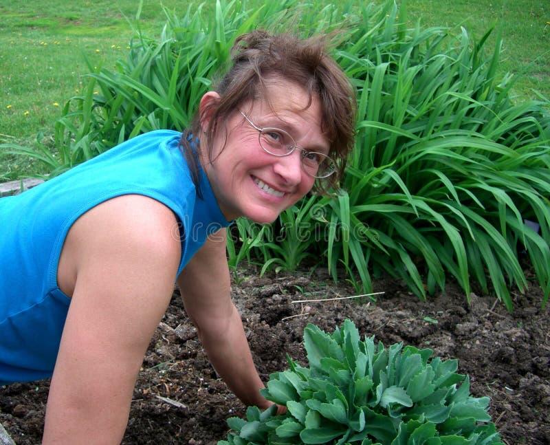 Садовник женщины работая с ее заводами стоковое изображение