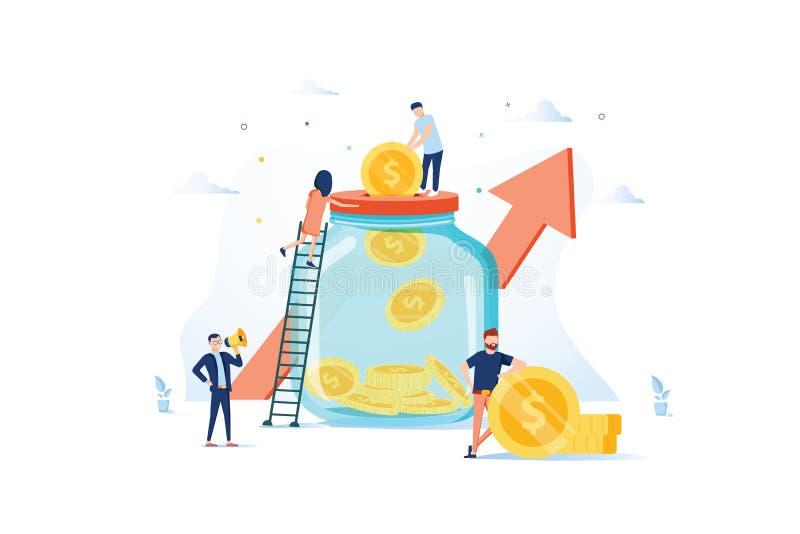 сбережения дег доллара принципиальной схемы бутылки Бизнесмены характеров инвестируя деньги на банковском счете Moneybox, сейф, б бесплатная иллюстрация