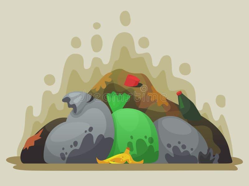 Свалка мусора Вонючая погань в сумках отброса, сбросах города и куче иллюстрации вектора мультфильма хлама бесплатная иллюстрация