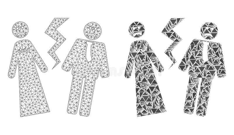 Свадьба полигональной 2D сетки сломленные и значок мозаики иллюстрация вектора