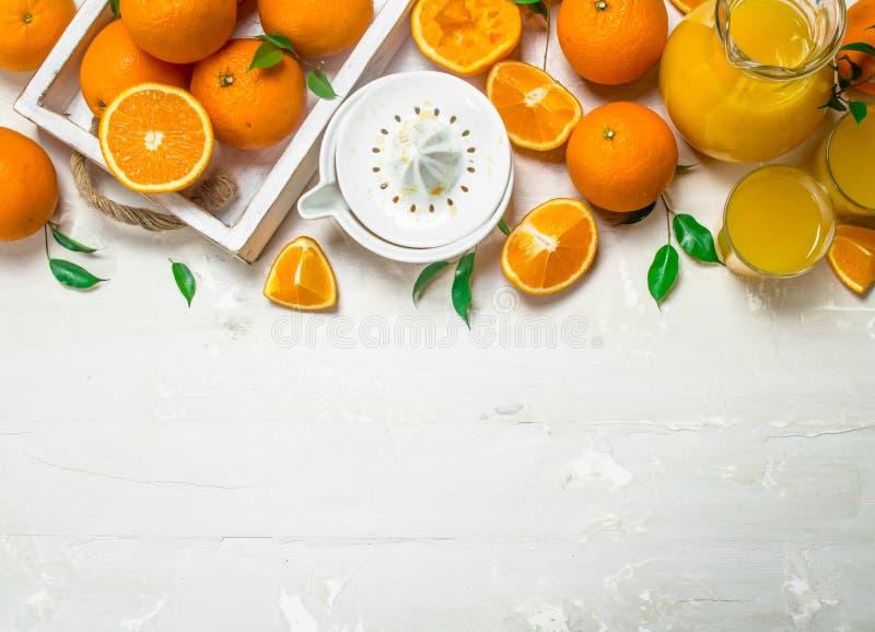 Свежие апельсины в подносе и juicer стоковое фото rf