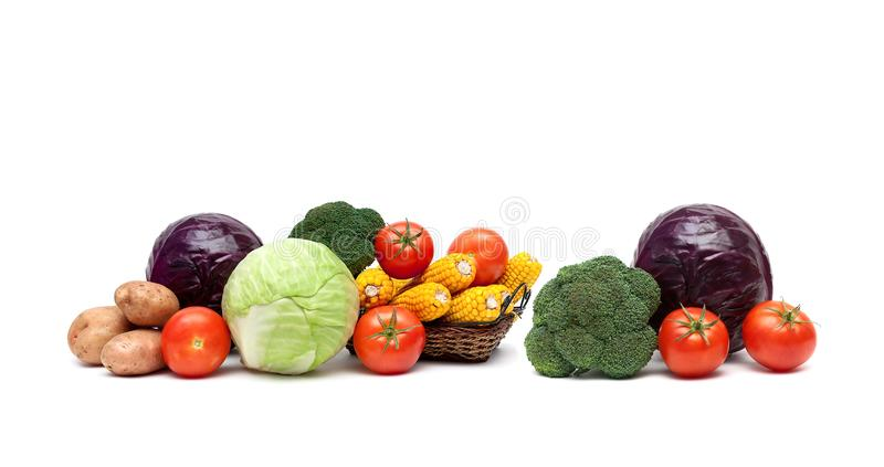 Свежие зрелые овощи изолированные на белой предпосылке стоковые фотографии rf