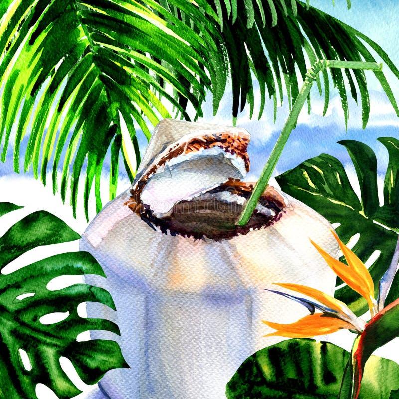 Свежий напиток воды кокоса с соломой на тропическом песчаном пляже с пальмами, листьями monstera, цветком райской птицы стоковые фото