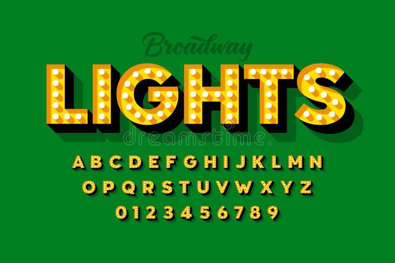 Света Бродвей, ретро шрифт электрической лампочки стиля стоковое фото