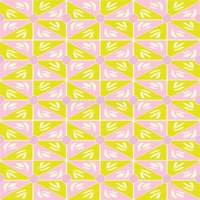 Светло-зеленые руки вычерченный и розовые геометрические треугольник и дизайн мозаики листьев Безшовная картина вектора с органич иллюстрация вектора