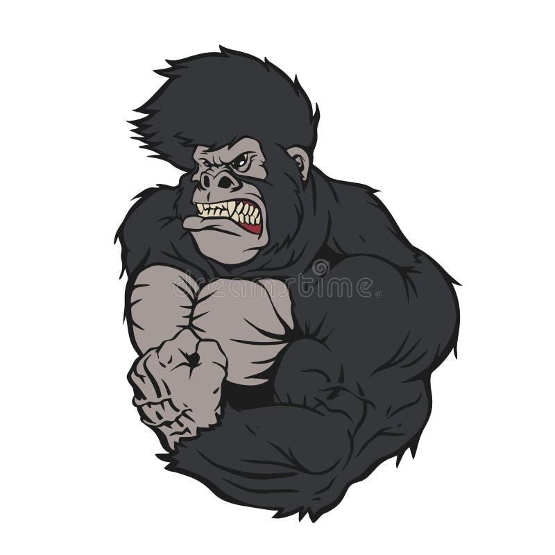 Свирепый мультфильм спортсмена гориллы иллюстрация штока
