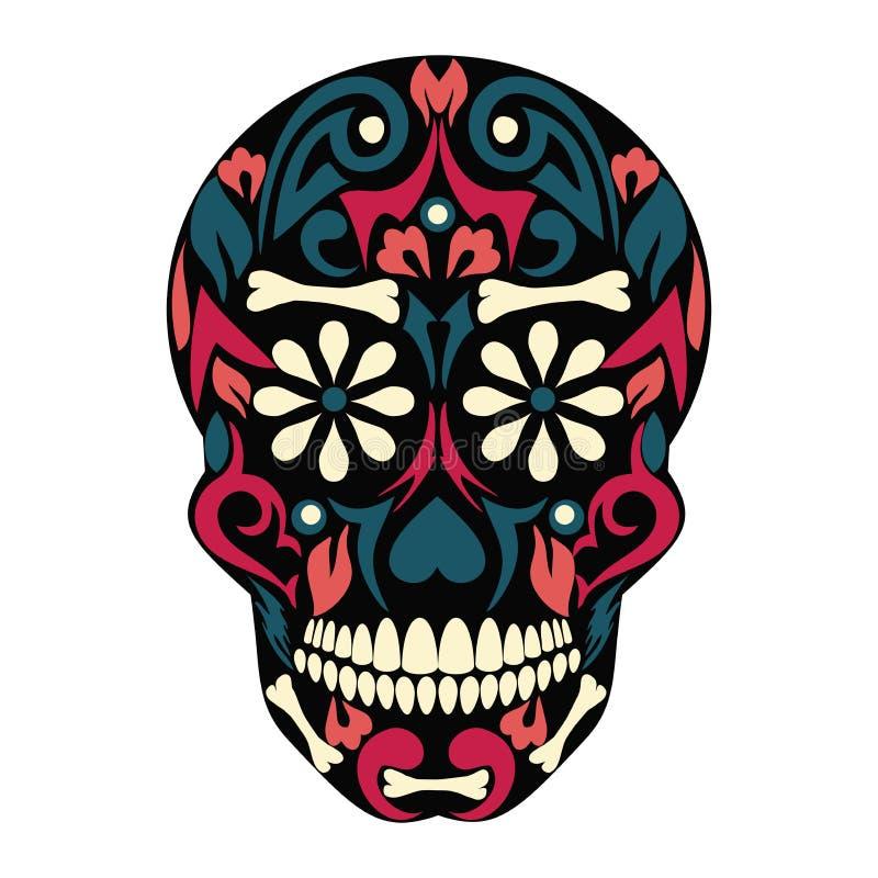 Святая смерть, день мертвого, мексиканского черепа сахара, мертвого, пиршества смерти, чертежа вектора каркасного главного иллюстрация вектора