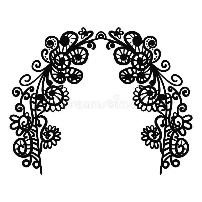 Свод Doodle Абстрактная рамка элементов черного doodle флористических с цветками, ветвями и листьями изолированными на белой пред иллюстрация вектора