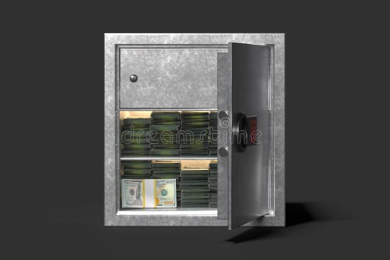 Сейф с деньгами изолированными на черной предпосылке перевод 3d иллюстрация вектора