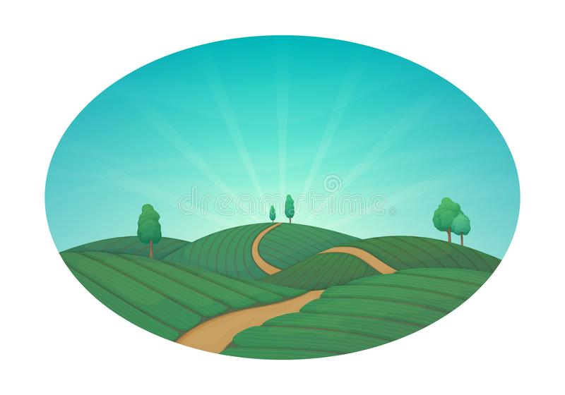 Сельская обрабатывая землю иллюстрация вектора Зеленые аграрные поля с деревьями и грязной улицей Голубое небо с облаками и солне бесплатная иллюстрация