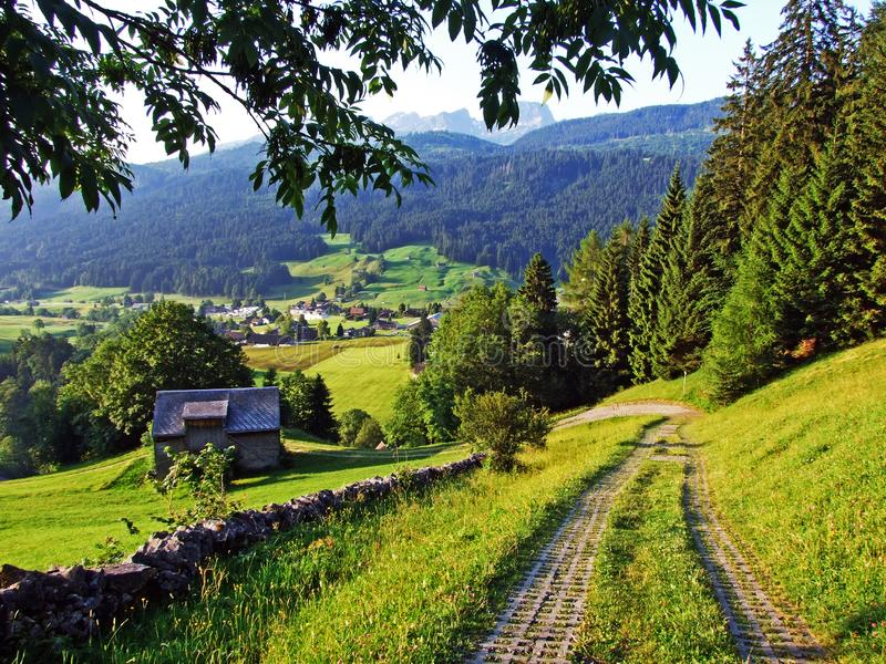 Сельские традиционные фермы архитектуры и поголовья на наклонах горной цепи Alpstein и в долину Thur реки стоковые фото