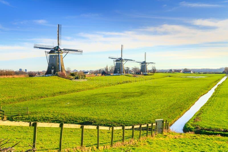 Сельский ландшафт - взгляд зеленого луга на предпосылке мельниц стоковая фотография