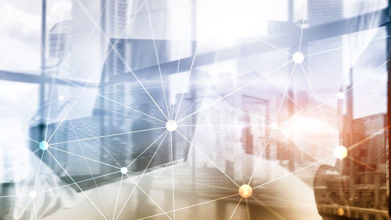 Сеть Blockchain на запачканной предпосылке небоскребов Финансовая концепция технологии и связи бесплатная иллюстрация
