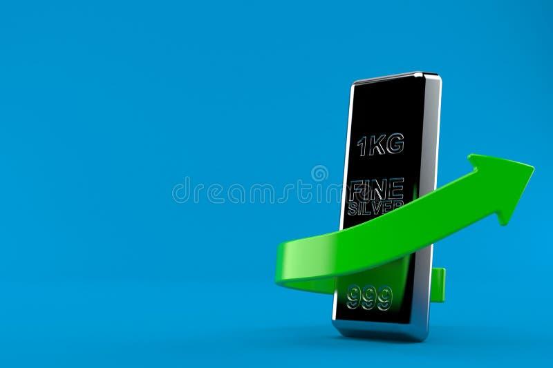Серебряный слиток с зеленой стрелкой иллюстрация штока
