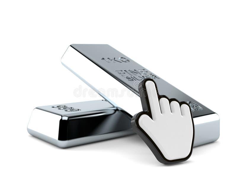 Серебряный слиток с курсором сети иллюстрация штока