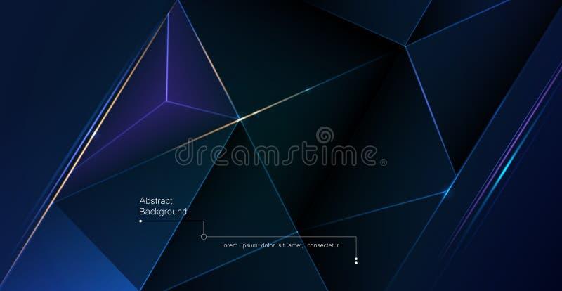Серебр полигона вектора низкий, черная наградная предпосылка Полигональное конспекта роскошные и серебряный, линия дизайн треугол иллюстрация вектора