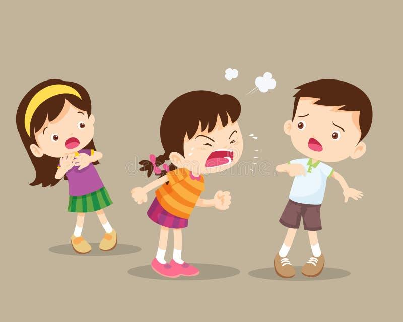 Сердитая девушка ярости детей и ее друг иллюстрация штока