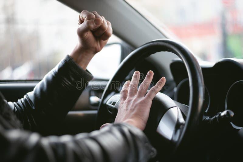 сердитый водитель стоковая фотография