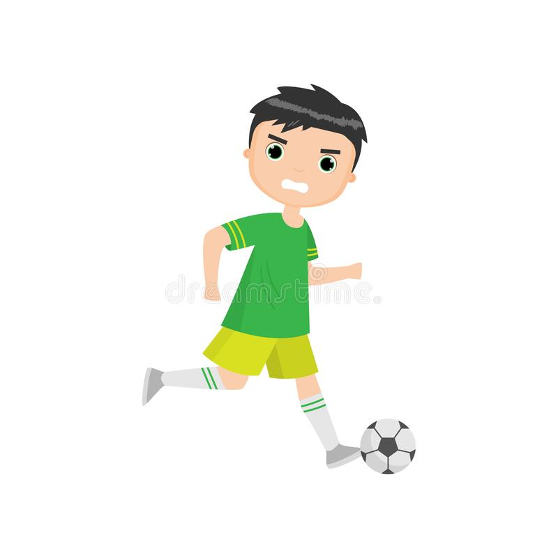 Сердитый мальчик играя футбол изолированный против белой предпосылки иллюстрация штока