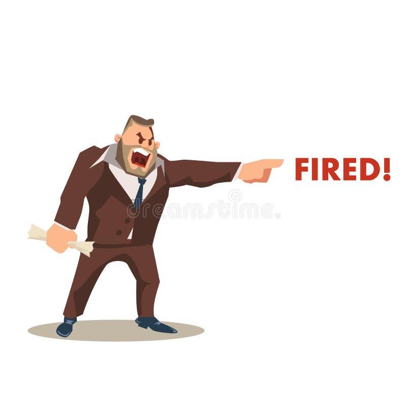 Сердитый сумашедший характер босса в слове костюма увольнятьом окриком иллюстрация штока