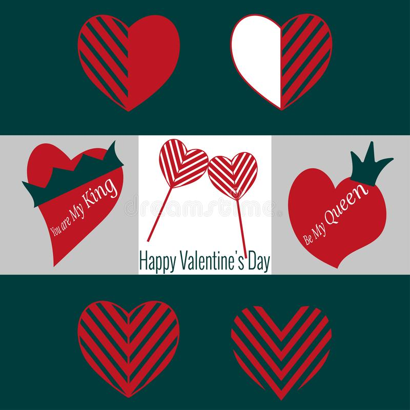 Set of Valentine`s Day icons. Two heart shaped lollipops, heart with crown for decoration. vector illustration