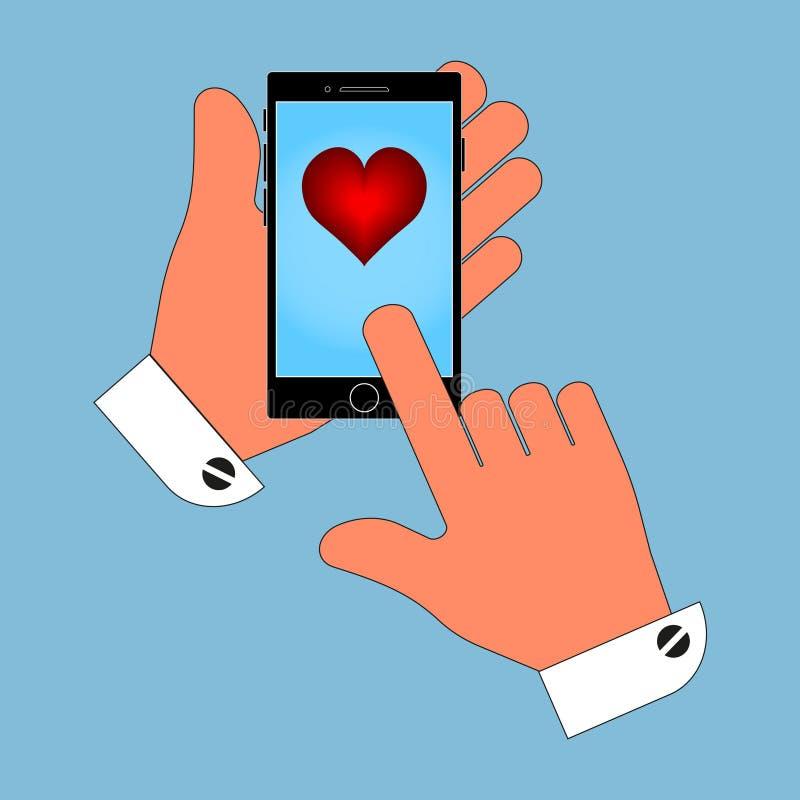 Сердце Валентайн по телефону в его руке Иллюстрация изолята на голубой предпосылке иллюстрация вектора