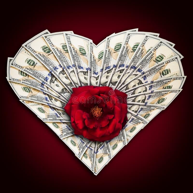 Сердце долларов и розы бесплатная иллюстрация