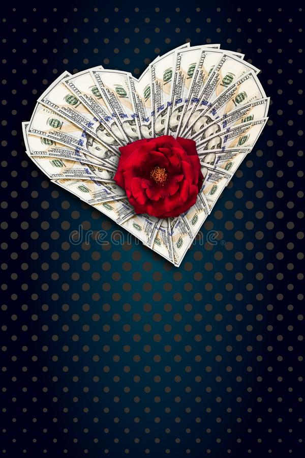 Сердце долларов и розы иллюстрация вектора