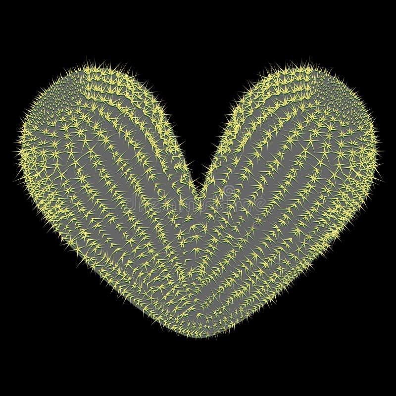 Сердце сформировало иллюстрацию вектора кактуса колючей груши иллюстрация штока