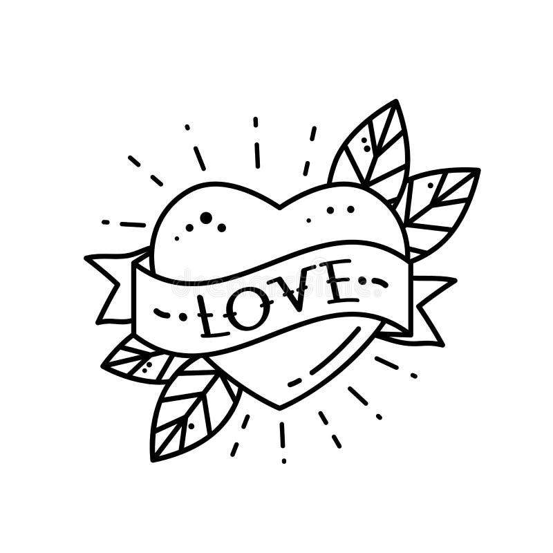 Сердце с любовью ленты и надписи Приветствовать ретро элемент открытки на День матери, свадьба, день Валентайн винтажное tatt иллюстрация вектора