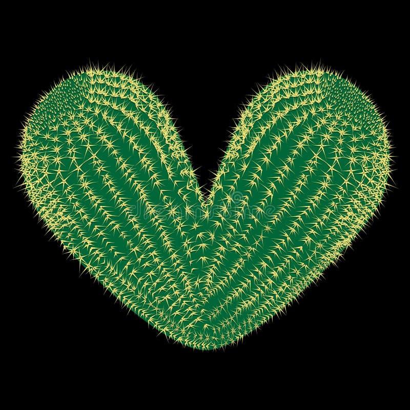 сердце терновое Кактус вектора терновый в форме иллюстрации сердца иллюстрация вектора