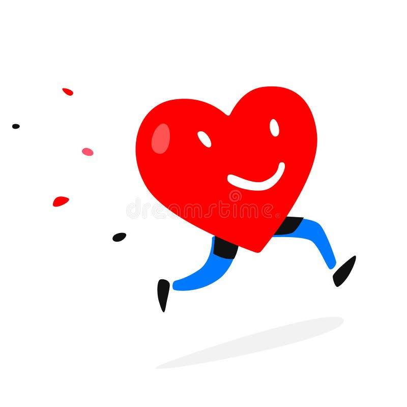 Сердце характера вектор Иллюстрация идущего живущего сердца Плоский стиль crayons Валентайн сердец s рук женщины 4 дня Движение л иллюстрация штока