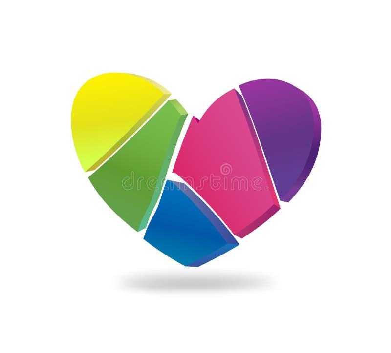 Сердце разделено в части, покрашенные в других цветах иллюстрация штока