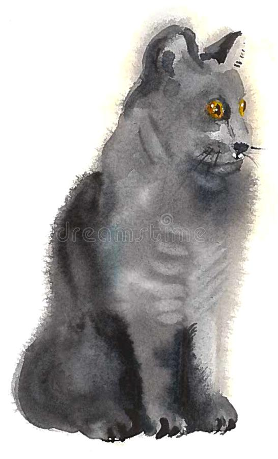 Серый кот сидит и смотрит вне для добычи иллюстрация штока