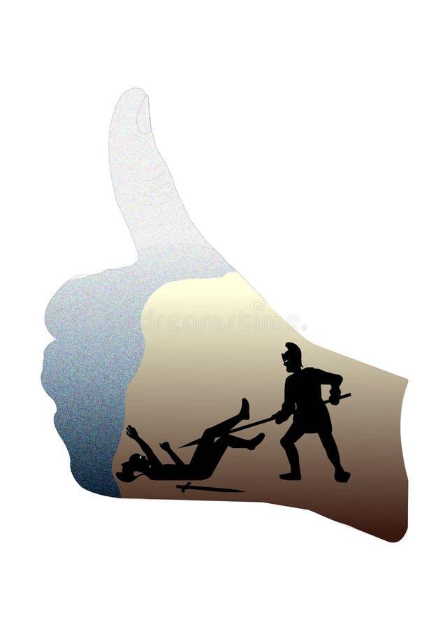 Сжатый кулак с изображением поединка гладиатора в нем бесплатная иллюстрация