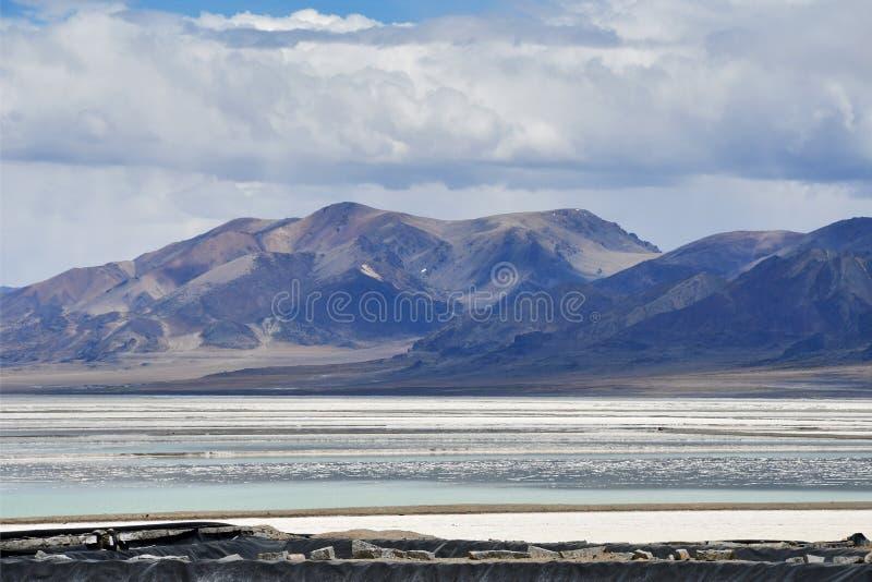 Сильно соляное озеро Chabyer в Тибете в пасмурной погоде, Китае стоковое фото rf