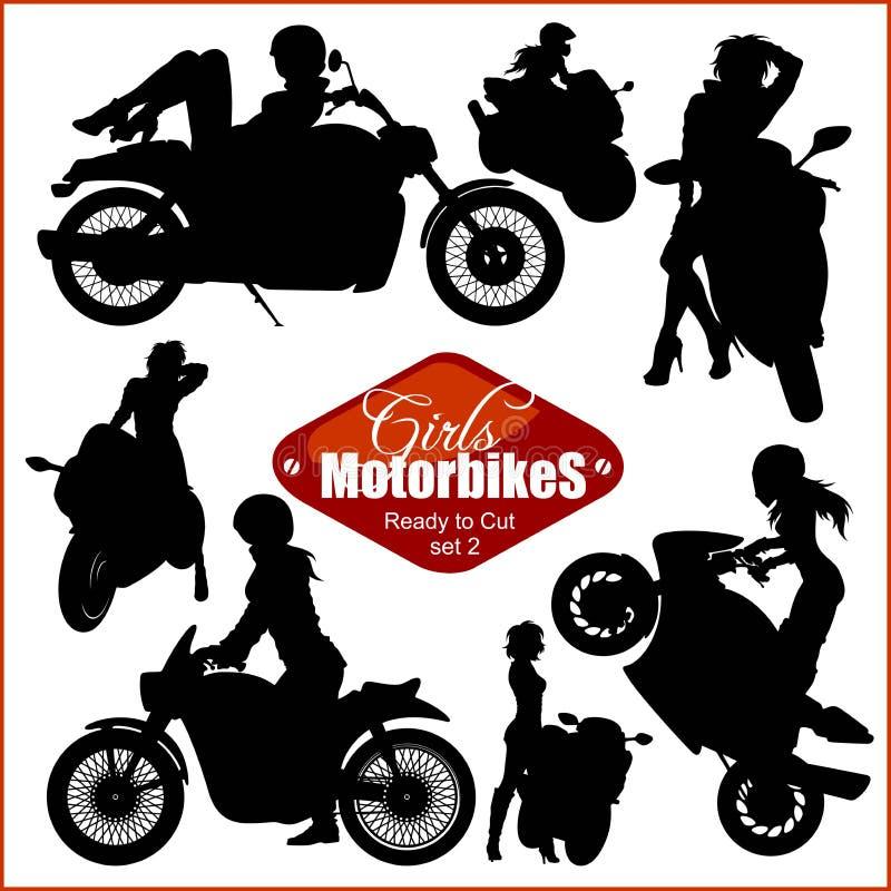 Силуэты - женщина и мотоциклы - набор вектора Изолировано на белизне иллюстрация вектора