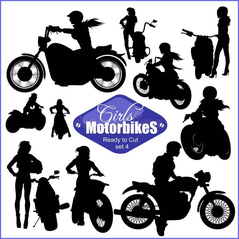 Силуэты - женщина и мотоциклы - набор вектора Изолировано на белизне иллюстрация штока