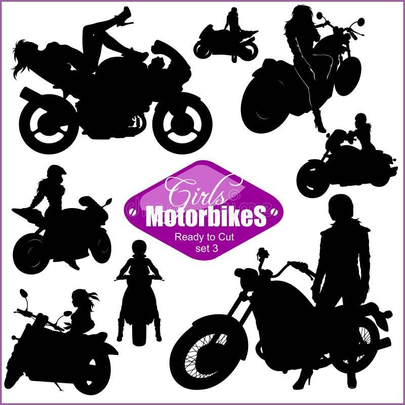 Силуэты - женщина и мотоциклы - набор вектора Изолировано на белизне бесплатная иллюстрация