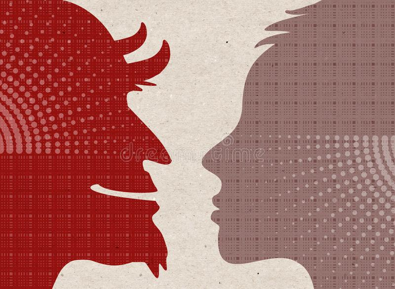 Силуэты профиля вычерченные - человеческие с дьяволом бесплатная иллюстрация
