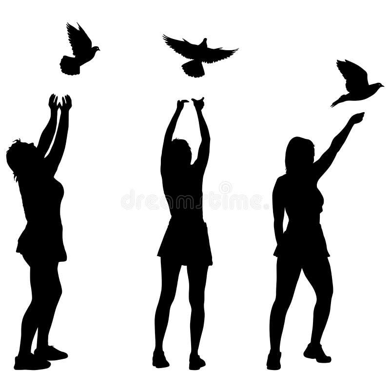 Силуэт 3 девушек позволил голубю в небе иллюстрация штока