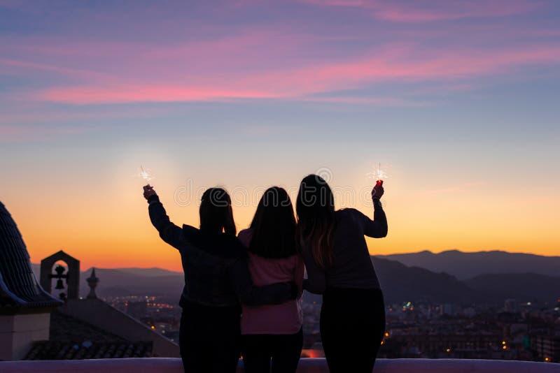 Силуэт 3 девушек смотря к заходу солнца стоковые фотографии rf