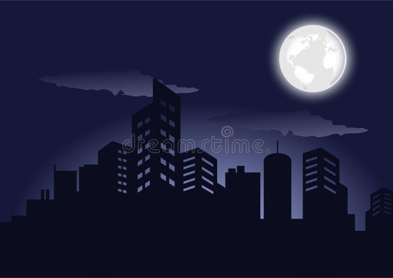 Силуэт темного изображения вектора ландшафта ночи зданий города бесплатная иллюстрация