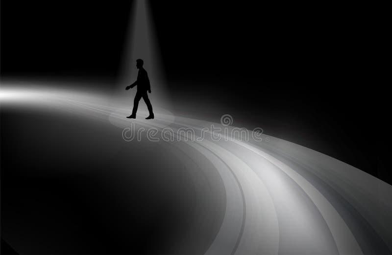 Силуэт человека идя на дорогу через темноту бесплатная иллюстрация