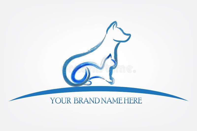 Силуэт собаки и кошки логотипа иллюстрация вектора