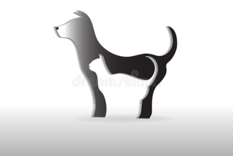 Силуэт собаки и кошки логотипа бесплатная иллюстрация