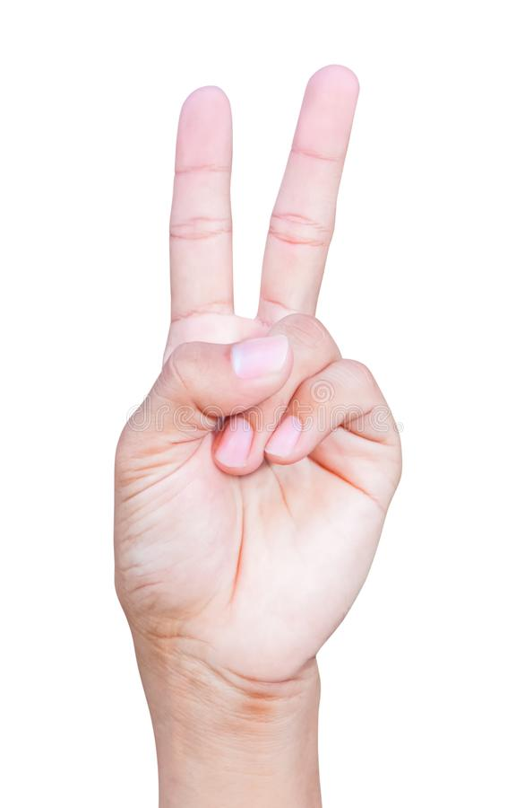 Символы номера два руки показывая на белой предпосылке стоковая фотография